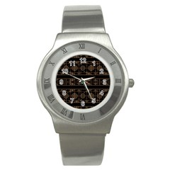 Dark Geometric Abstract Pattern Stainless Steel Watch (slim)