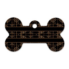 Dark Geometric Abstract Pattern Dog Tag Bone (one Sided)