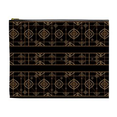 Dark Geometric Abstract Pattern Cosmetic Bag (xl)