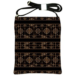 Dark Geometric Abstract Pattern Shoulder Sling Bag