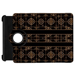 Dark Geometric Abstract Pattern Kindle Fire HD Flip 360 Case