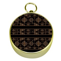 Dark Geometric Abstract Pattern Gold Compass