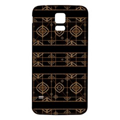 Dark Geometric Abstract Pattern Samsung Galaxy S5 Back Case (White)