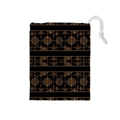 Dark Geometric Abstract Pattern Drawstring Pouch (medium)