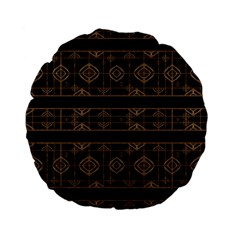 Dark Geometric Abstract Pattern 15  Premium Flano Round Cushion