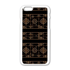 Dark Geometric Abstract Pattern Apple iPhone 6 White Enamel Case