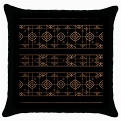 Dark Geometric Abstract Pattern Black Throw Pillow Case