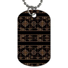 Dark Geometric Abstract Pattern Dog Tag (one Sided)