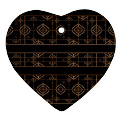 Dark Geometric Abstract Pattern Heart Ornament (two Sides)
