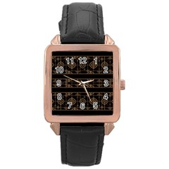 Dark Geometric Abstract Pattern Rose Gold Leather Watch