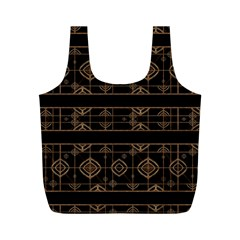 Dark Geometric Abstract Pattern Reusable Bag (M)