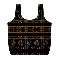 Dark Geometric Abstract Pattern Reusable Bag (L)
