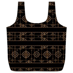 Dark Geometric Abstract Pattern Reusable Bag (XL)
