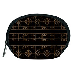 Dark Geometric Abstract Pattern Accessory Pouch (medium)