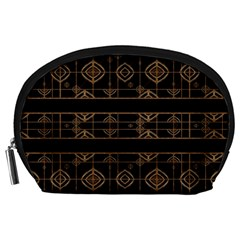 Dark Geometric Abstract Pattern Accessory Pouch (large)