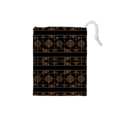 Dark Geometric Abstract Pattern Drawstring Pouch (Small)