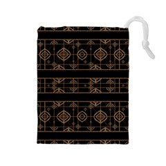 Dark Geometric Abstract Pattern Drawstring Pouch (large)