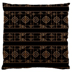 Dark Geometric Abstract Pattern Large Flano Cushion Case (One Side)