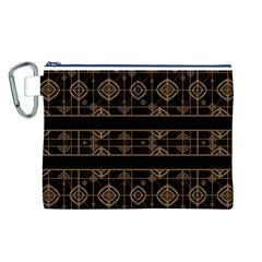 Dark Geometric Abstract Pattern Canvas Cosmetic Bag (Large)