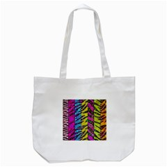 Crazy Animal Print Abstract  Tote Bag (White)