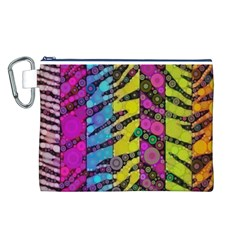 Crazy Animal Print Abstract  Canvas Cosmetic Bag (Large)