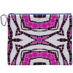 Pink Black Zebra  Canvas Cosmetic Bag (XXXL)