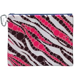 Red Zebra Bling  Canvas Cosmetic Bag (XXXL)