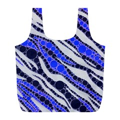 Blue Zebra Bling  Reusable Bag (L)