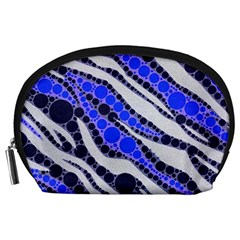 Blue Zebra Bling  Accessory Pouch (Large)