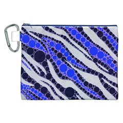 Blue Zebra Bling  Canvas Cosmetic Bag (XXL)
