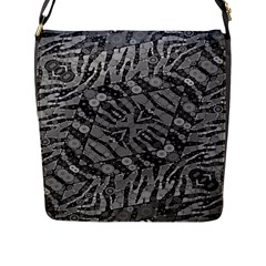 Silver Zebra  Flap Closure Messenger Bag (large)