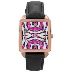 Pink Black Zebra  Rose Gold Leather Watch