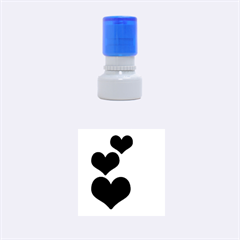 Three Hearts L Small Rubber Stamp (round)