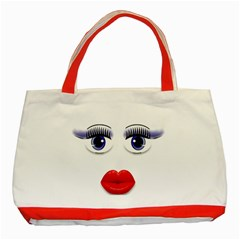 Face with Blue Eyes Classic Tote Bag (Red)