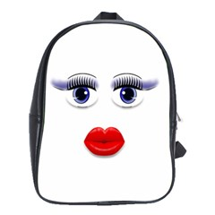 Face With Blue Eyes School Bag (large)