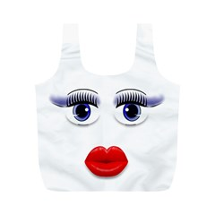 Face with Blue Eyes Full Print Recycle Bag (M)