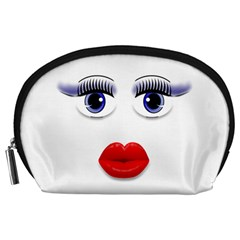 Face with Blue Eyes Accessory Pouch (Large)