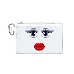 Face With Blue Eyes Canvas Cosmetic Bag (small)