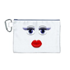 Face with Blue Eyes Canvas Cosmetic Bag (Medium)
