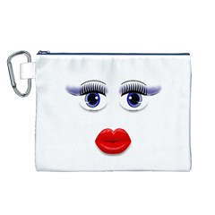 Face with Blue Eyes Canvas Cosmetic Bag (Large)