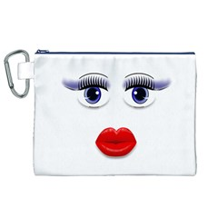 Face with Blue Eyes Canvas Cosmetic Bag (XL)