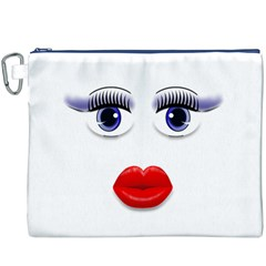 Face with Blue Eyes Canvas Cosmetic Bag (XXXL)