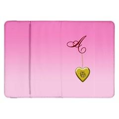 A Golden Rose Heart Locket Samsung Galaxy Tab 8.9  P7300 Flip Case