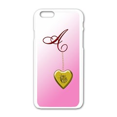 A Golden Rose Heart Locket Apple Iphone 6 White Enamel Case