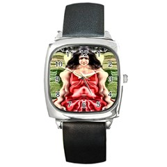 Cubist Woman Square Leather Watch