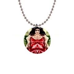 Cubist Woman Button Necklace
