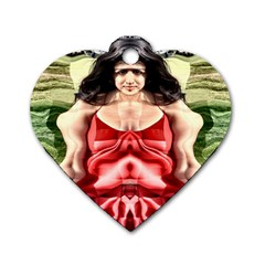 Cubist Woman Dog Tag Heart (one Sided)