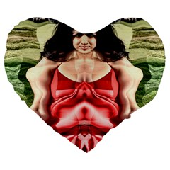 Cubist Woman 19  Premium Flano Heart Shape Cushion