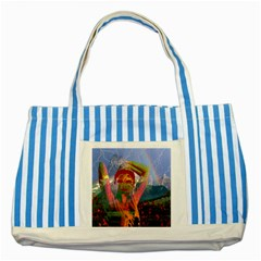 Fusion With The Landscape Blue Striped Tote Bag