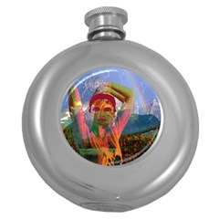 Fusion With The Landscape Hip Flask (round)